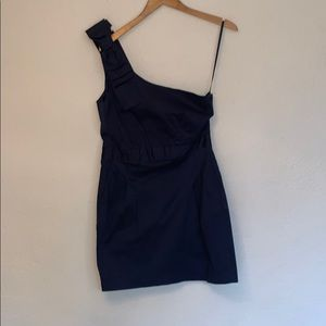 French Connection one-shoulder blue cocktail dress